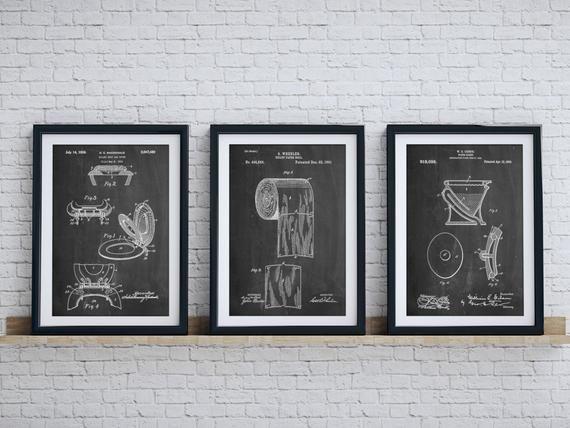 Bathroom Art Patent Posters Group Of 3 Bathroom Wall Decor Etsy In 2020 Toilet Art Bathroom Wall Art Bathroom Art
