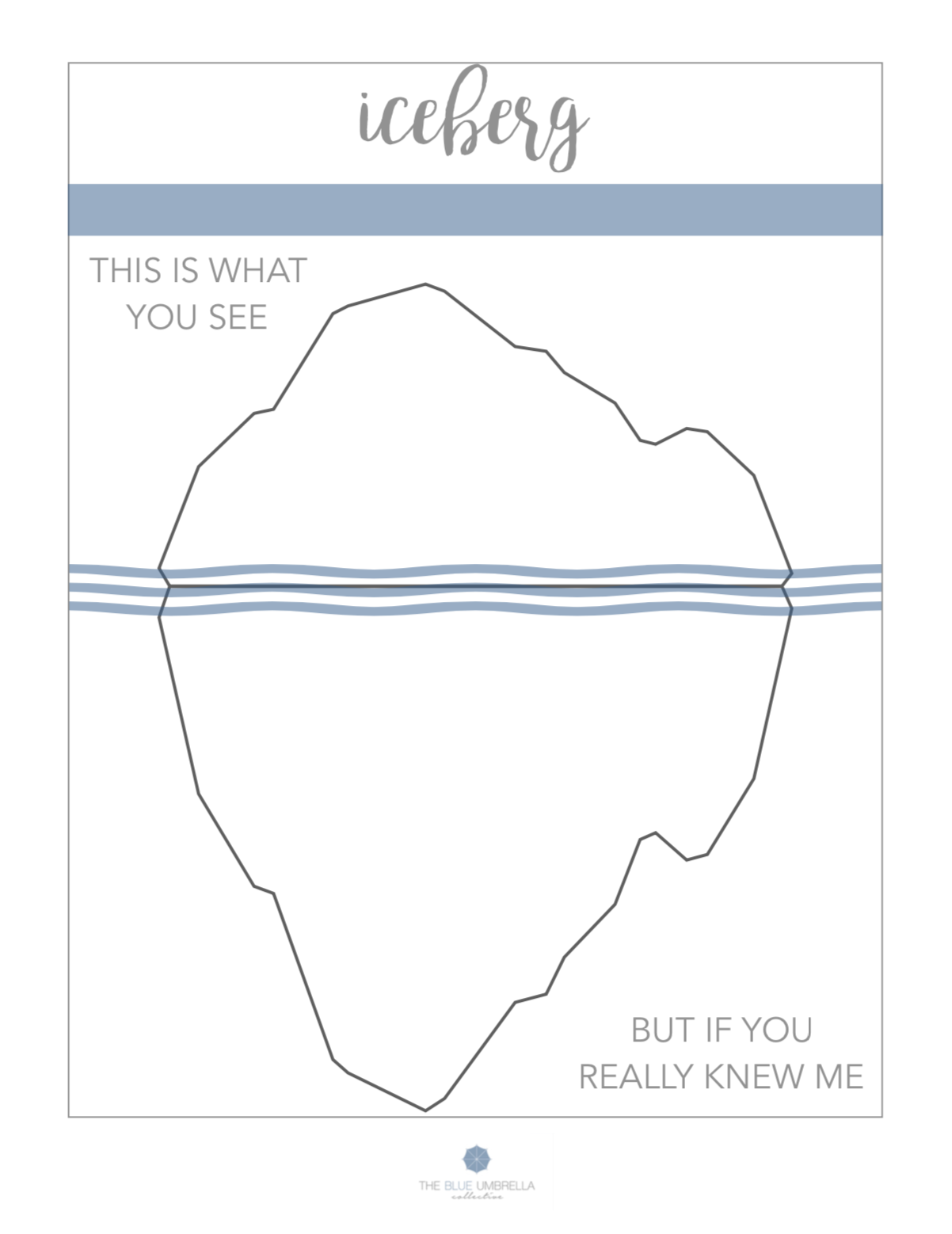 Printable Iceberg Worksheet Depicting That You Are More