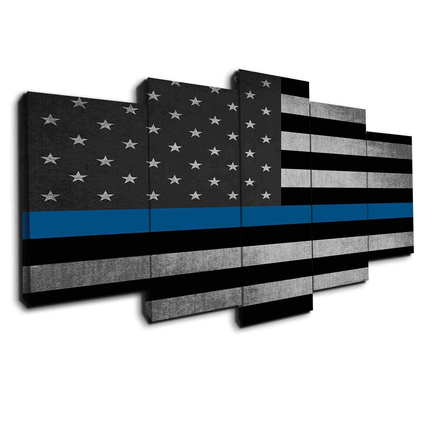 Light thin blue line on grunge black grunge panel wall art and lights