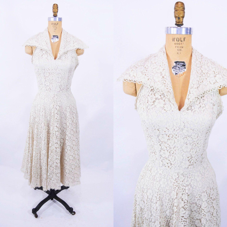 1950s Lace Dress Off White Halter Large Collar Vintage Party Etsy Dresses Vintage Party Dresses Vintage Dresses [ 1500 x 1500 Pixel ]