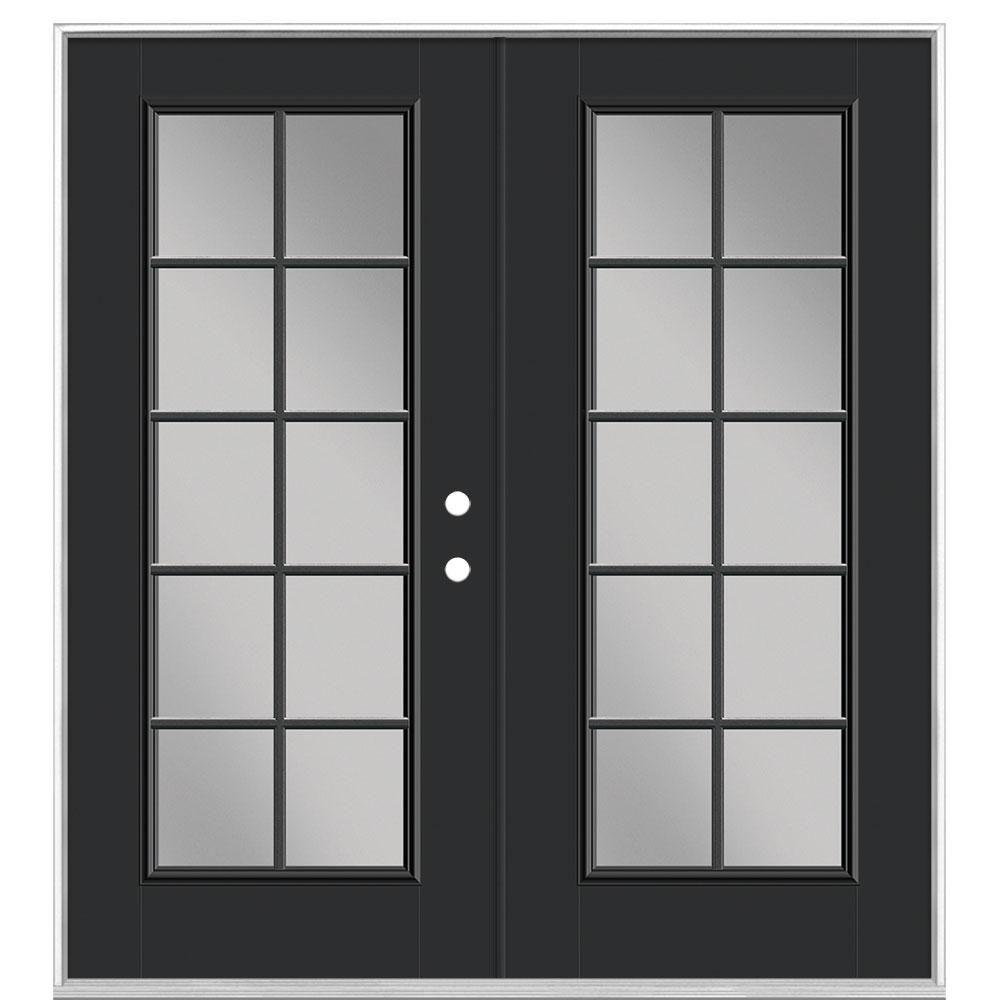 Masonite 72 In X 80 In Jet Black Fiberglass Prehung Left Hand Inswing 10 Lite Clear Glass Patio Door Without Brickmold 21535 In 2020 Glass Doors Patio Vinyl Frames Patio Doors