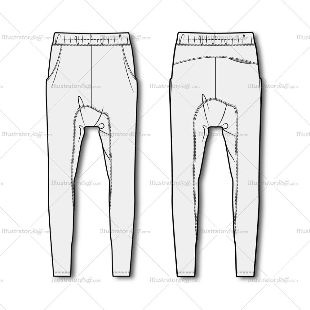 Men's Drop Crotch Joggers Fashion Flat Template in 2019