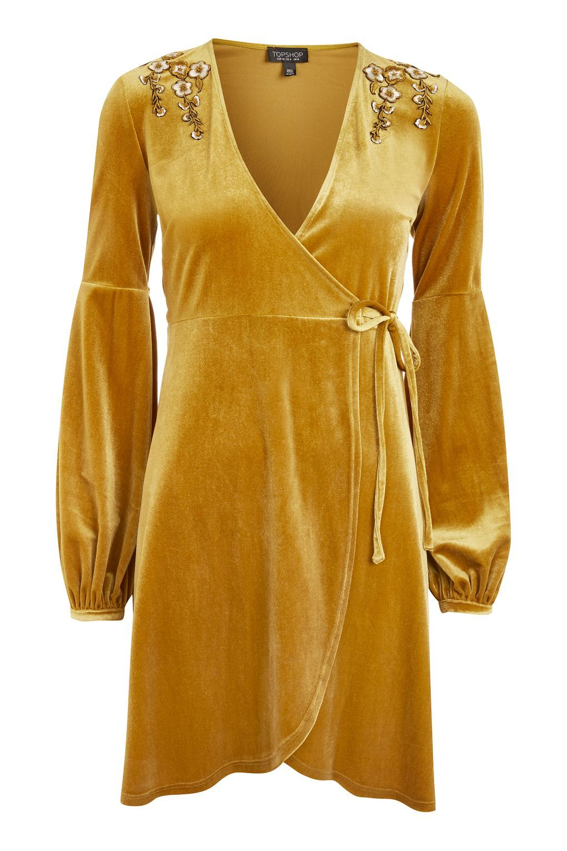 0ebc342ffb74 MUSTARD Embroideed Velvet Wrap Dress