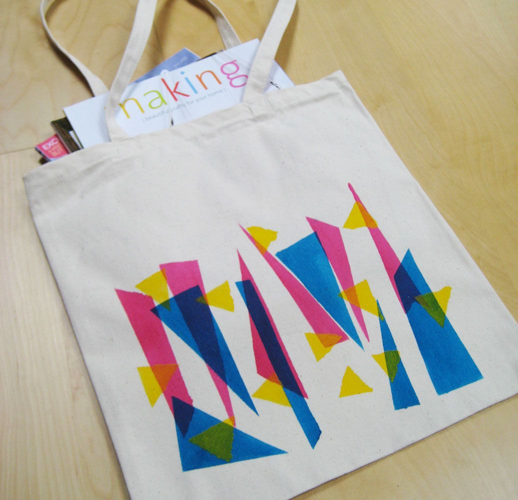 Make stenciled geometric neon tote bags | teen/tween crafts