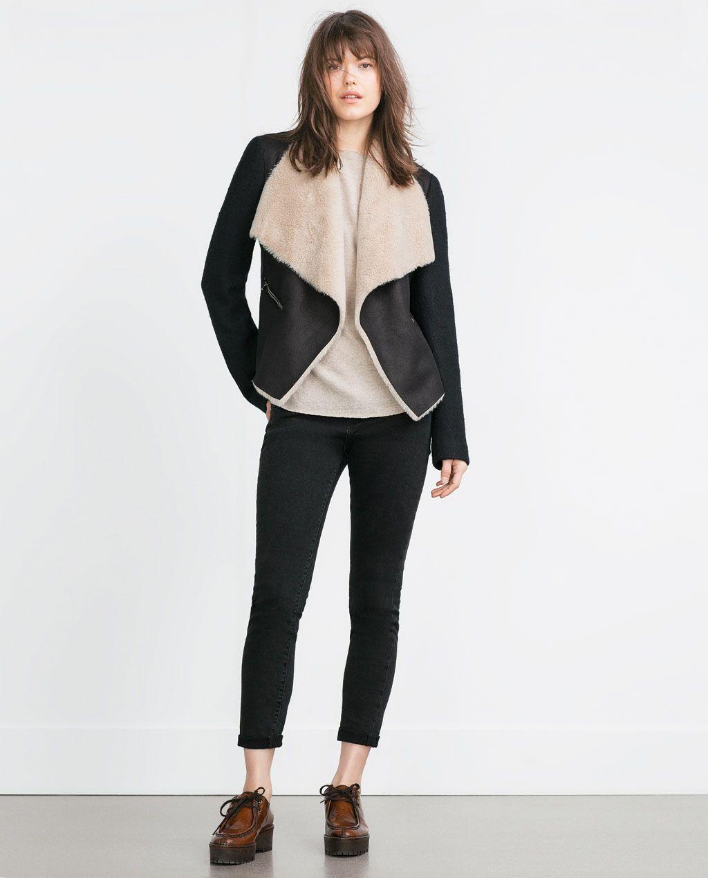 Image 1 De Veste En Imitation Peau Lainee De Zara Look Jackets