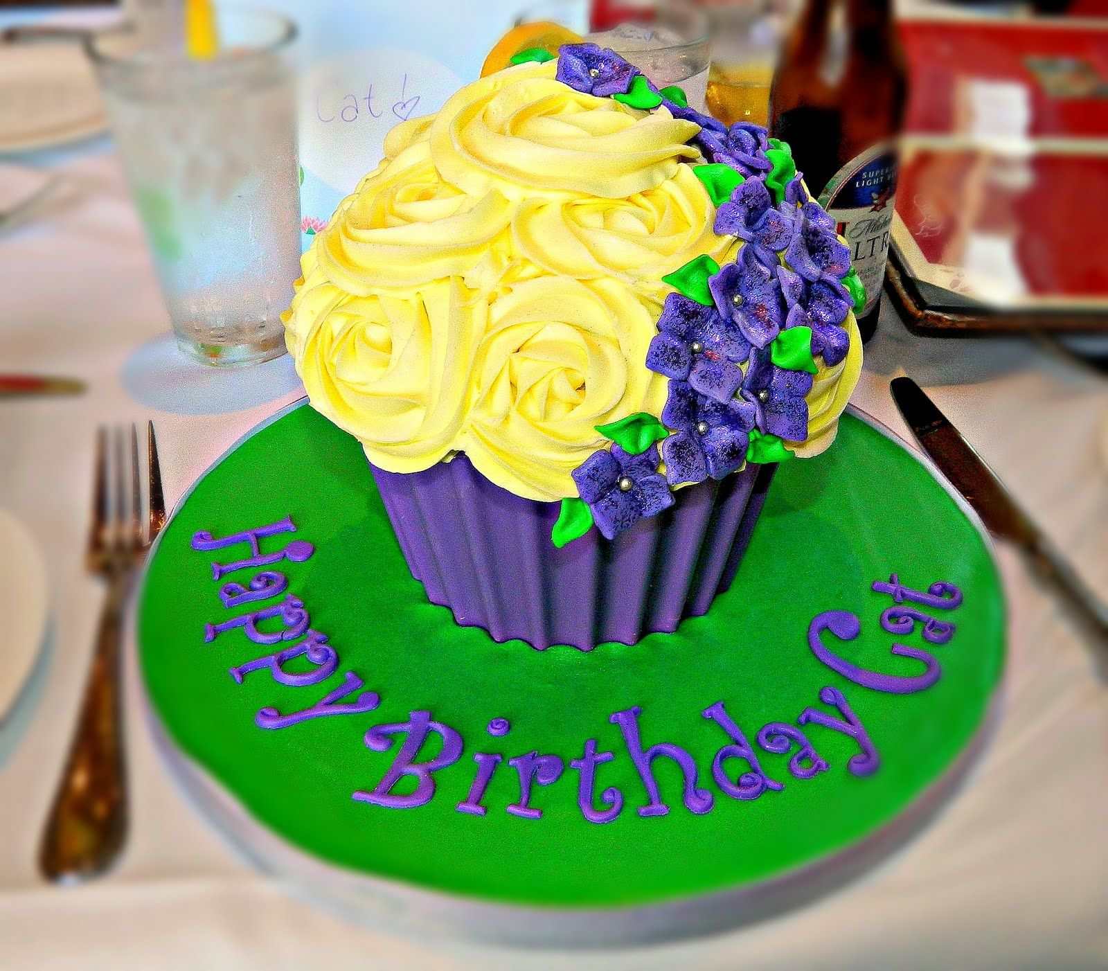 Giant Cupcake - Elegant Giant cupcake featuring the birthday girl's favorite colors.