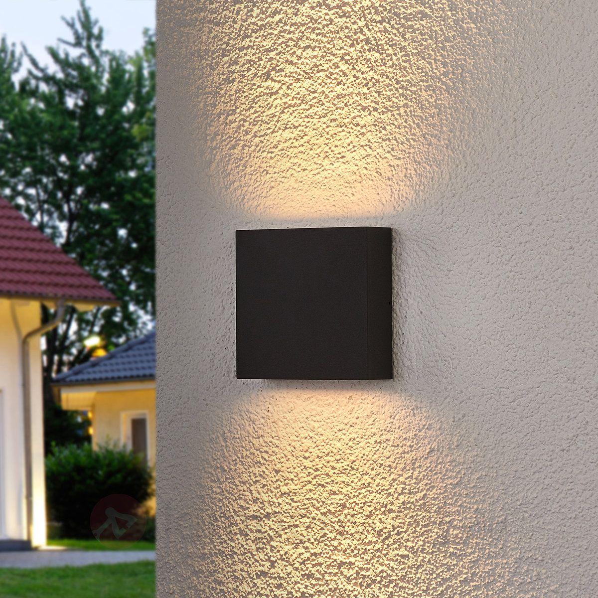 Bezaubernd Eingangsüberdachung L Form Beste Wahl Eckige Led-außenwandlampe Trixy In Grafitgrau Sicher &