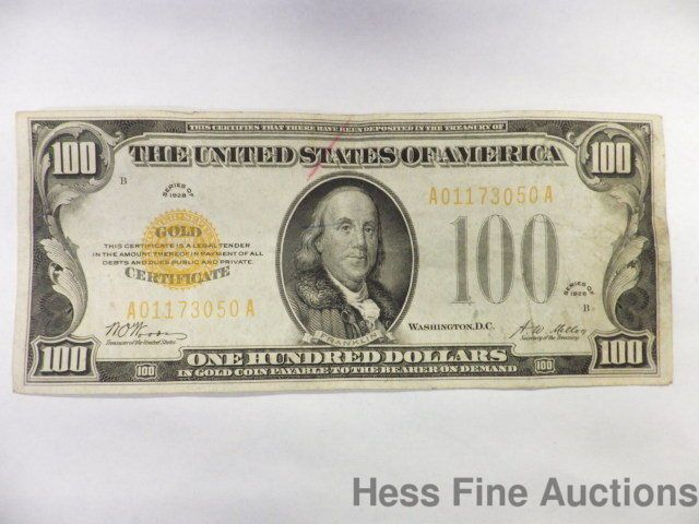 Scarce Genuine 1928 $100 Hundred Dollar Gold Coin Note Currency Certificate