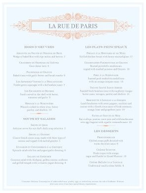 ooh la la this french menu rests delicately on a pale blue