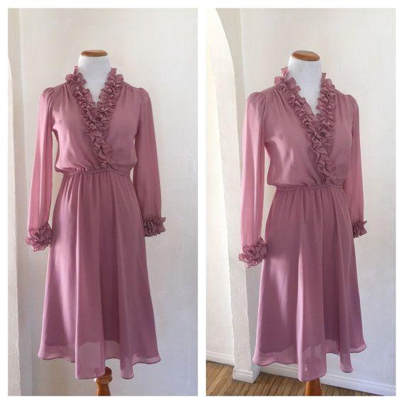 70s 80s Vintage Dress - Disco Era Dress - Long Sleeve ...