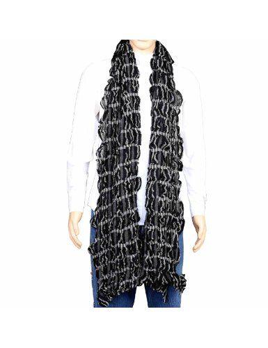 Idée cadeau noël hommes - Écharpe en laine gauffrée et effet froissé motifs design - Étole fashion noire et blanche 30 x 152 cm: Amazon.fr: Vêtements et accessoires