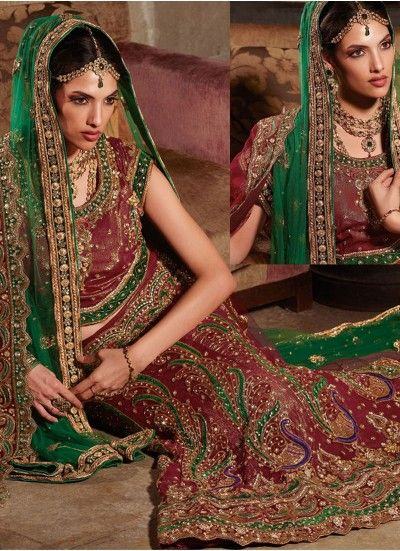 Sophisticated Maroon/Deep Green Fish Cut Bridal Lehenga Choli With Scalloped Border