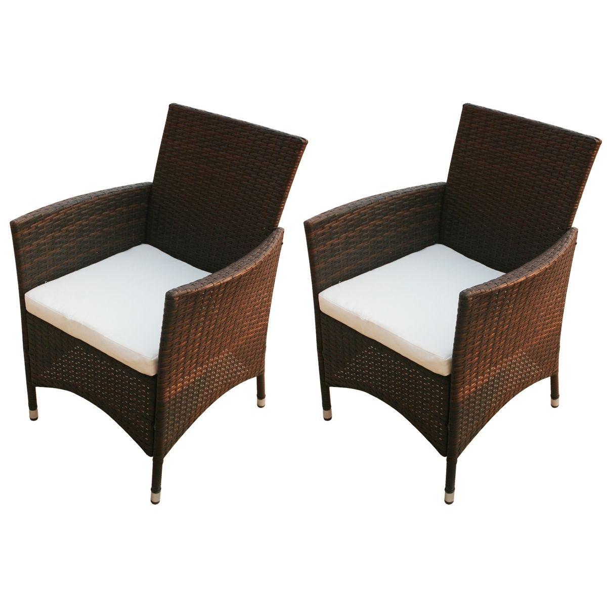 Set Rattan Garden Furniture Set 2 Pieces Brown Rattan chair | eBay ...