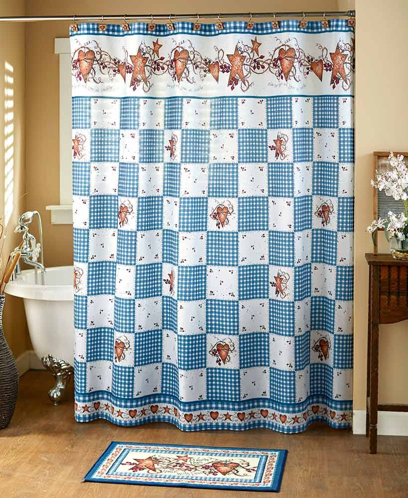 Hearts And Stars Country Blue Bath Collection Bathrooms Bedding