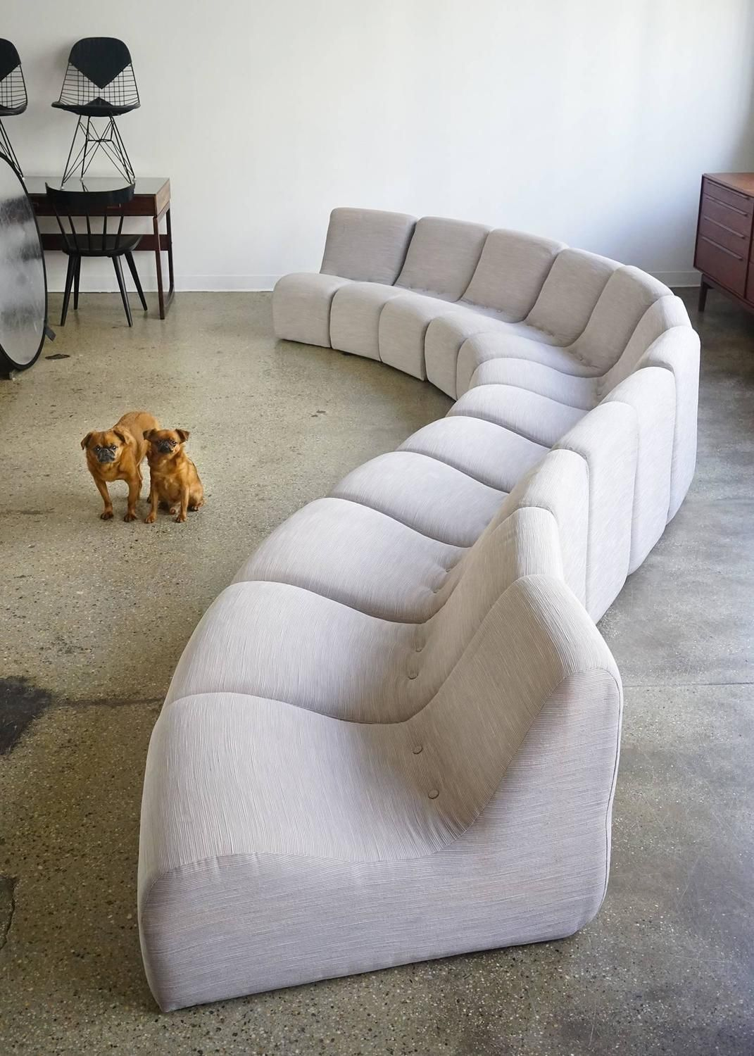 Serpentine Sectional by Milo Baughman is part of Baughman - View this item and discover similar  for sale at 1stdibs  Exceptional 12piece set comprised of seven inwardturning seats, three outwardturning seats, and two straight seats  Similar seats create a soft curve