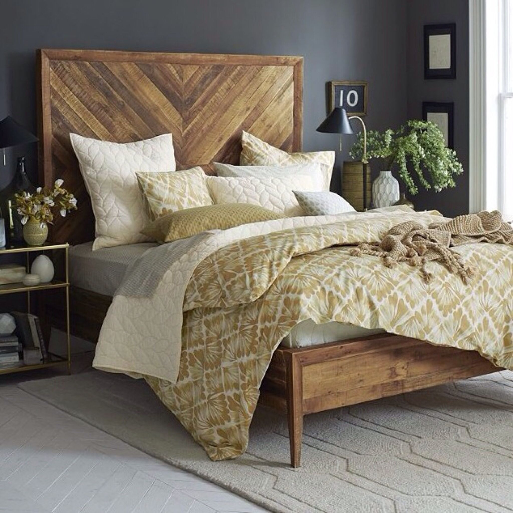 Navy Headboard taller wood pattern Bed floating