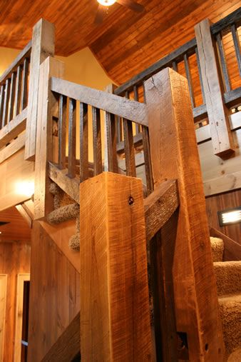 Barnwood Beam Stairwell | Home-Stairwells | Metal barn ...