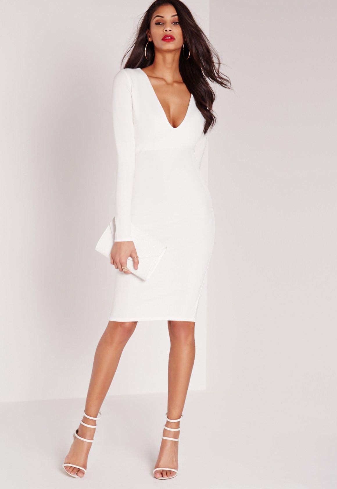 Missguided Ponte Long Sleeve Plunge Midi Dress White Plunge Bodycon Dress White Midi Dress Lace White Dress [ 1680 x 1160 Pixel ]