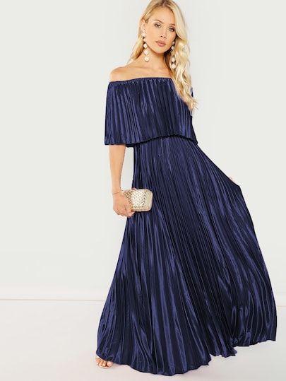 d4e677dc615 SHEIN Bardot Pleated Maxi Prom Dress  fashion  trends  styles  shein   sheinside  clothes  fashionista shein  sheinreviews  sheinshopping