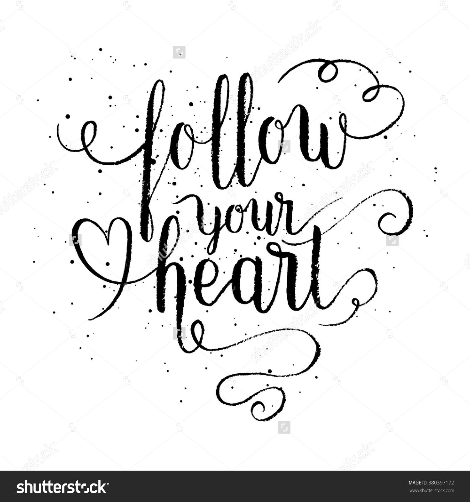 Follow Your Heart Greeting Card Poster Print Vector