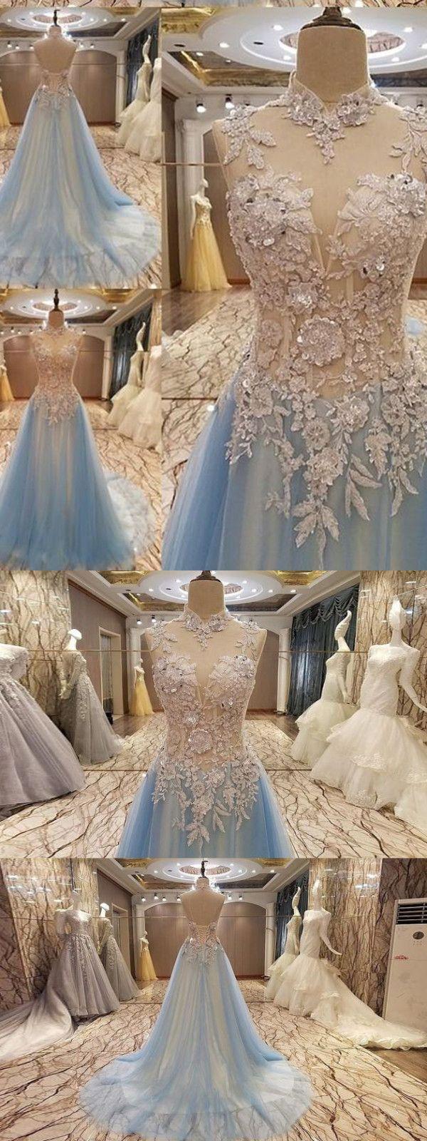 Chic a line prom dress modest cheap lace long prom dress vb