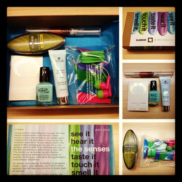 Heart my July #birchbox #glamour ! Five senses theme !