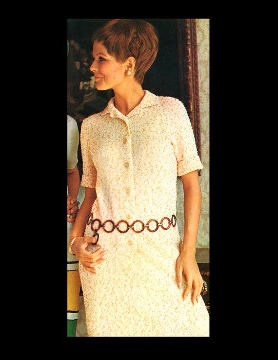 Knitting Vintage Things : S vintage mod shirt dress knitting pattern by