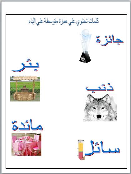 ورقة عمل عن درس الهمزة المتوسطة علي الياء في اللغة العربية للصف الخامس Homeschool Comics