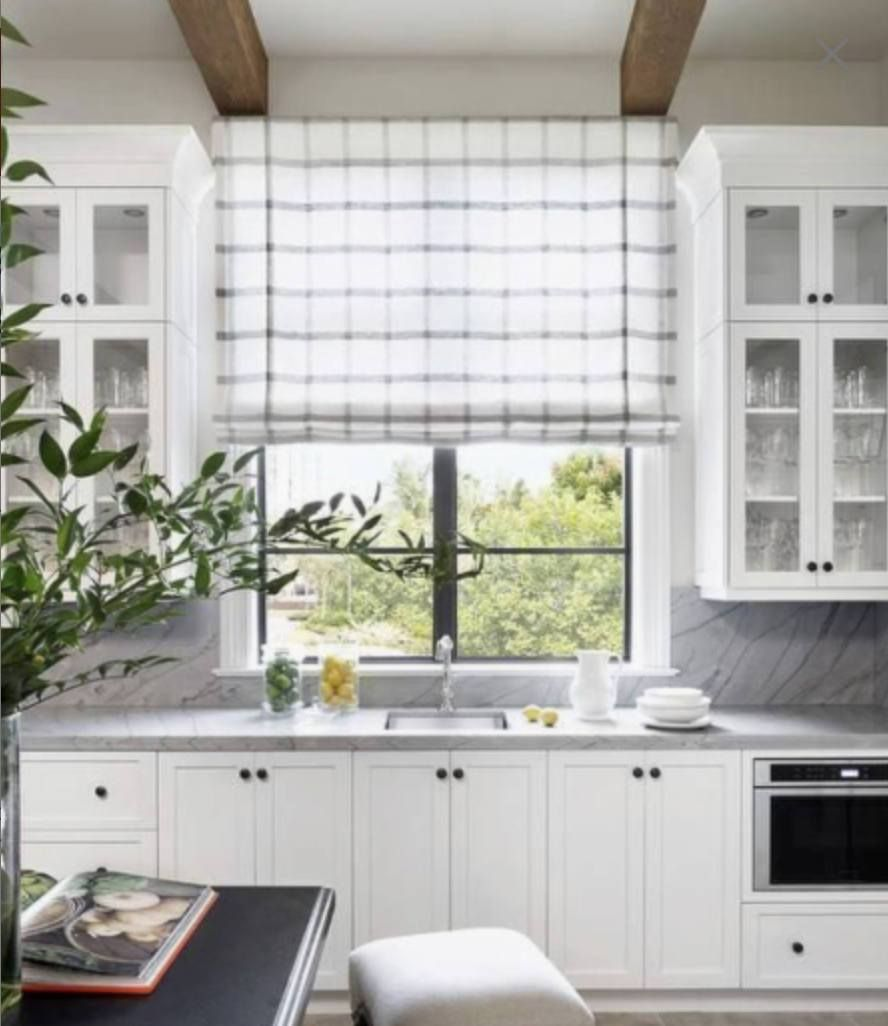 Image Result For Plaid Roman Blinds Farmhouse Roman Shades Kitchen Window Treatments Modern Farmhouse Kitchens
