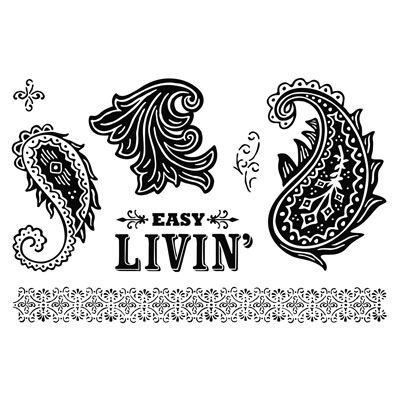 """Close to My Heart My Acrylix Stamp Set Paisley Flair  Set of 7  Recommended My Acrylix® Blocks:  1"""" × 1"""" (Y1000), 2"""" × 2"""" (Y1003), 2"""" × 3½"""" (Y1009), 2"""" × 6½"""" (Y1010)    $13.95"""