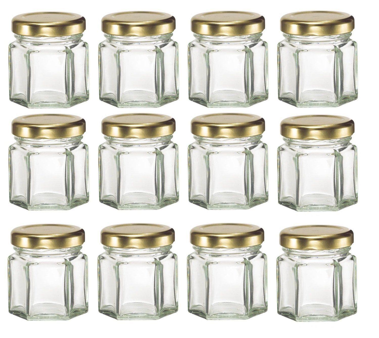 ChefLand 12 Piece, 1.5 Oz Mini Hexagon Glass Jars for Jam, Honey ...