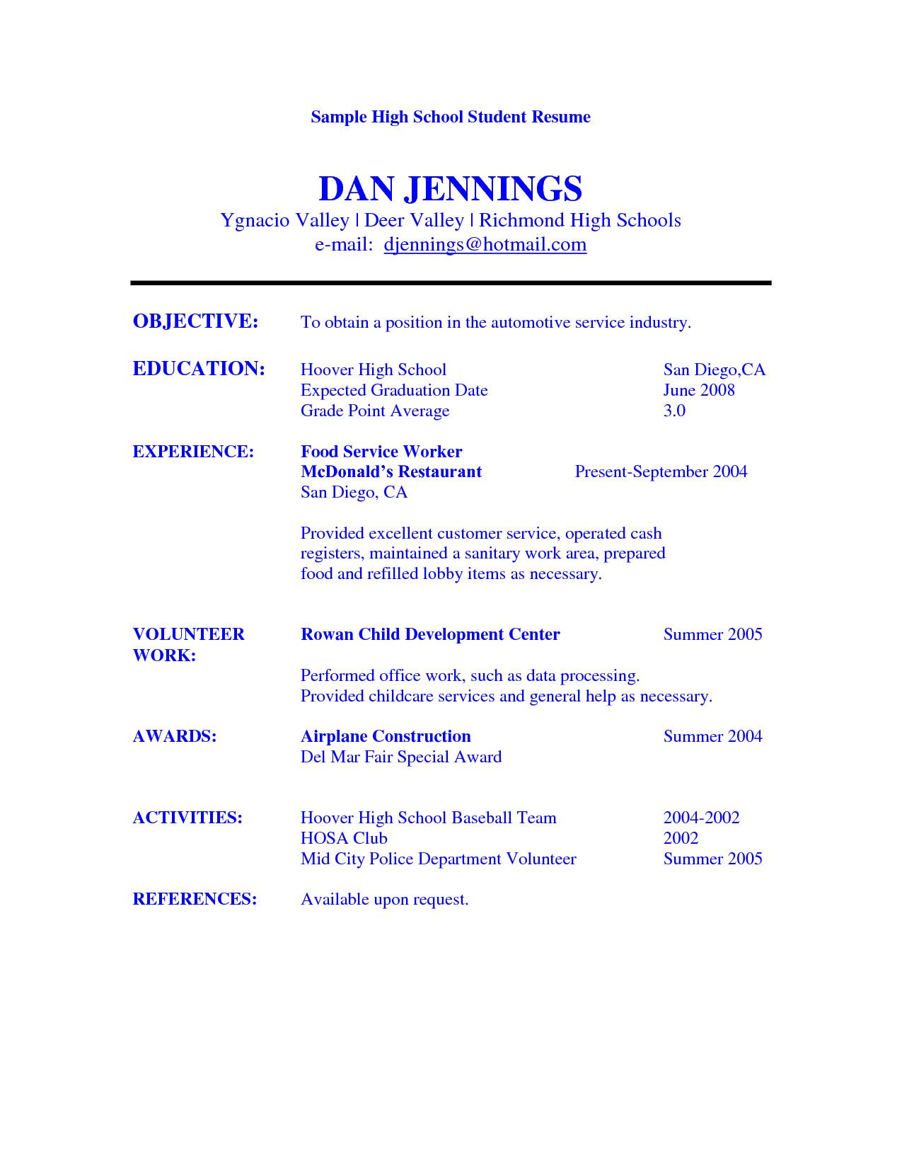 resume objective examples for high school graduate