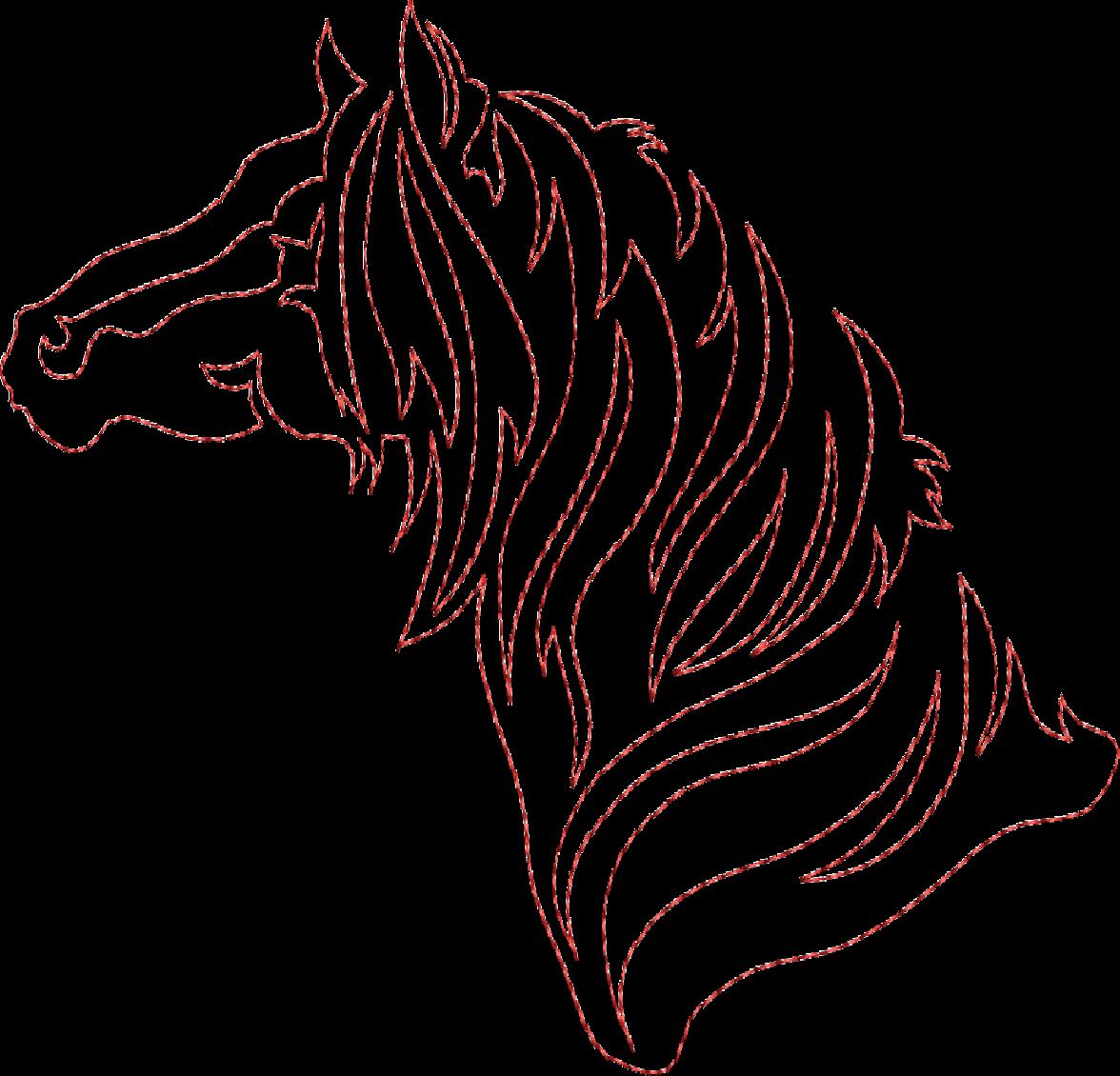Continuous line quilting -horse