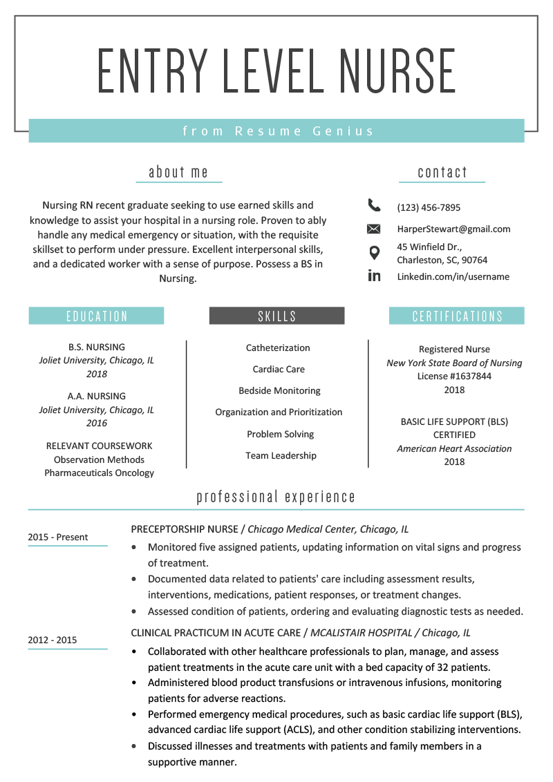 Entry Level Nurse Resume Example Template | Nursing resume ...