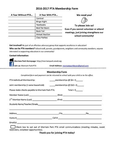 Pta Membership Form Jpeg  MoAddition    Pta