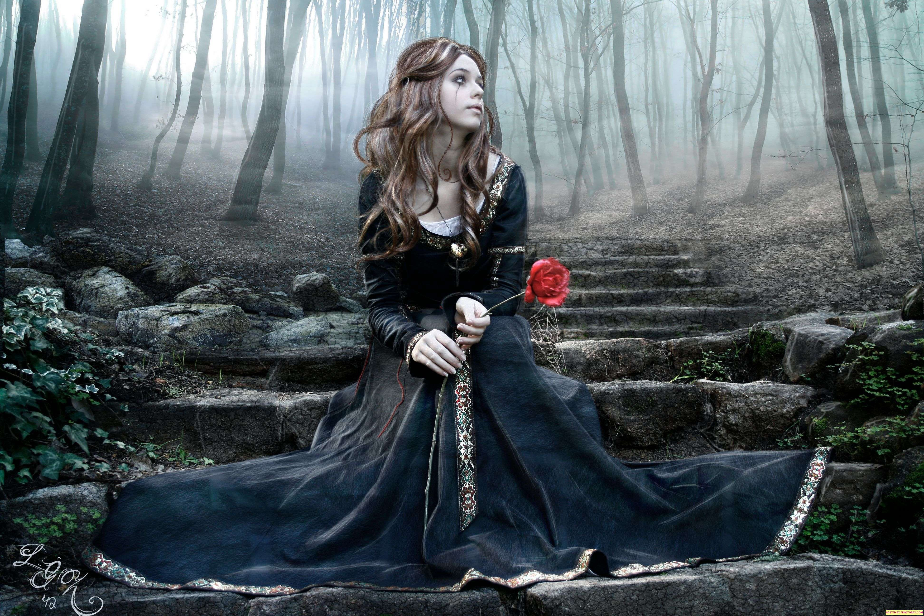 gothic girl art | image: pictures-wallpapers-gothic-girls-graveyard