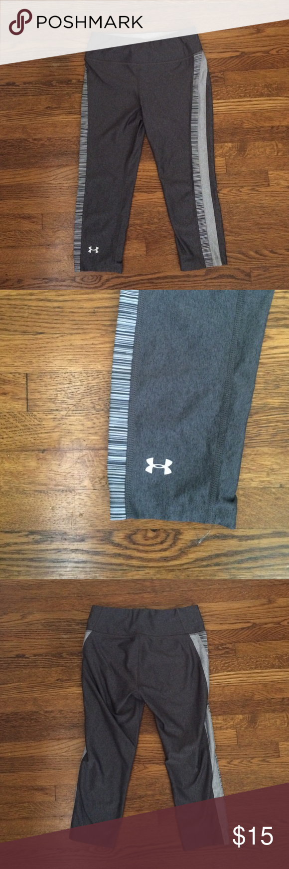 Under Armour Heat Gear Athletic Capri Leggings Very form-fitting. Still in great condition! Has a small pocket in back. Under Armour Pants