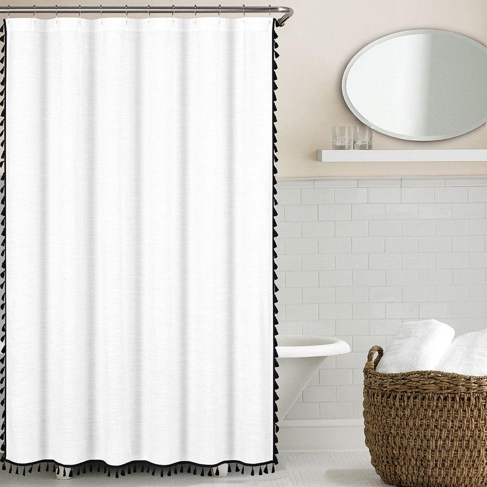 Echelon Home 100 Cotton Tassel Shower Curtain Reviews