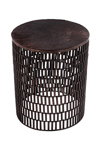 Foreign Affairs Home Decor Bullet Bronze Metal Table With Brown Cow Hide Covered Top You C Metal Accent Table Metal Table Round Metal Accent Table