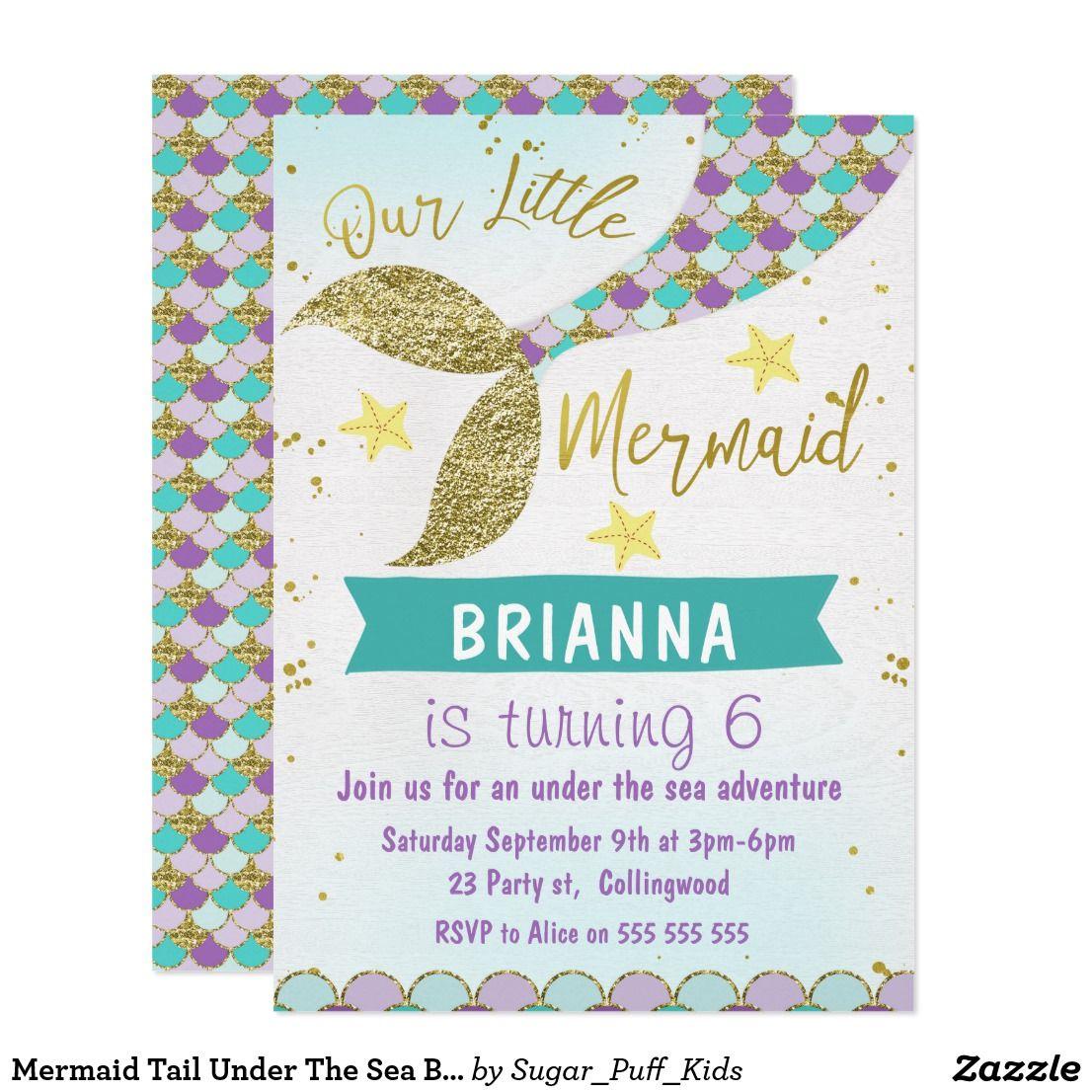 Mermaid Tail Under The Sea Birthday Invitation   { Happy Birthday ...