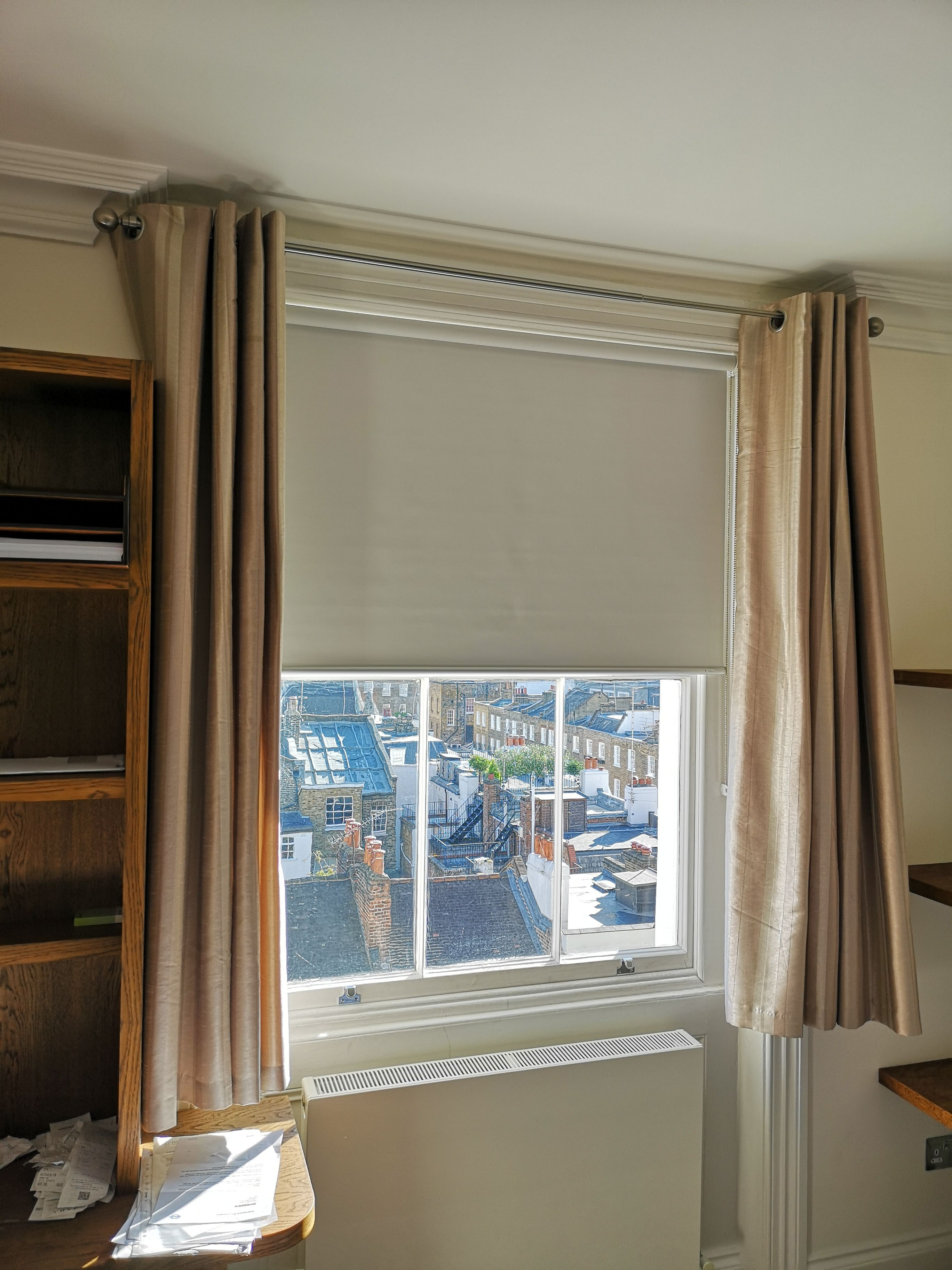 Blackout Roller Blind With Existing Curtains For Sash Window