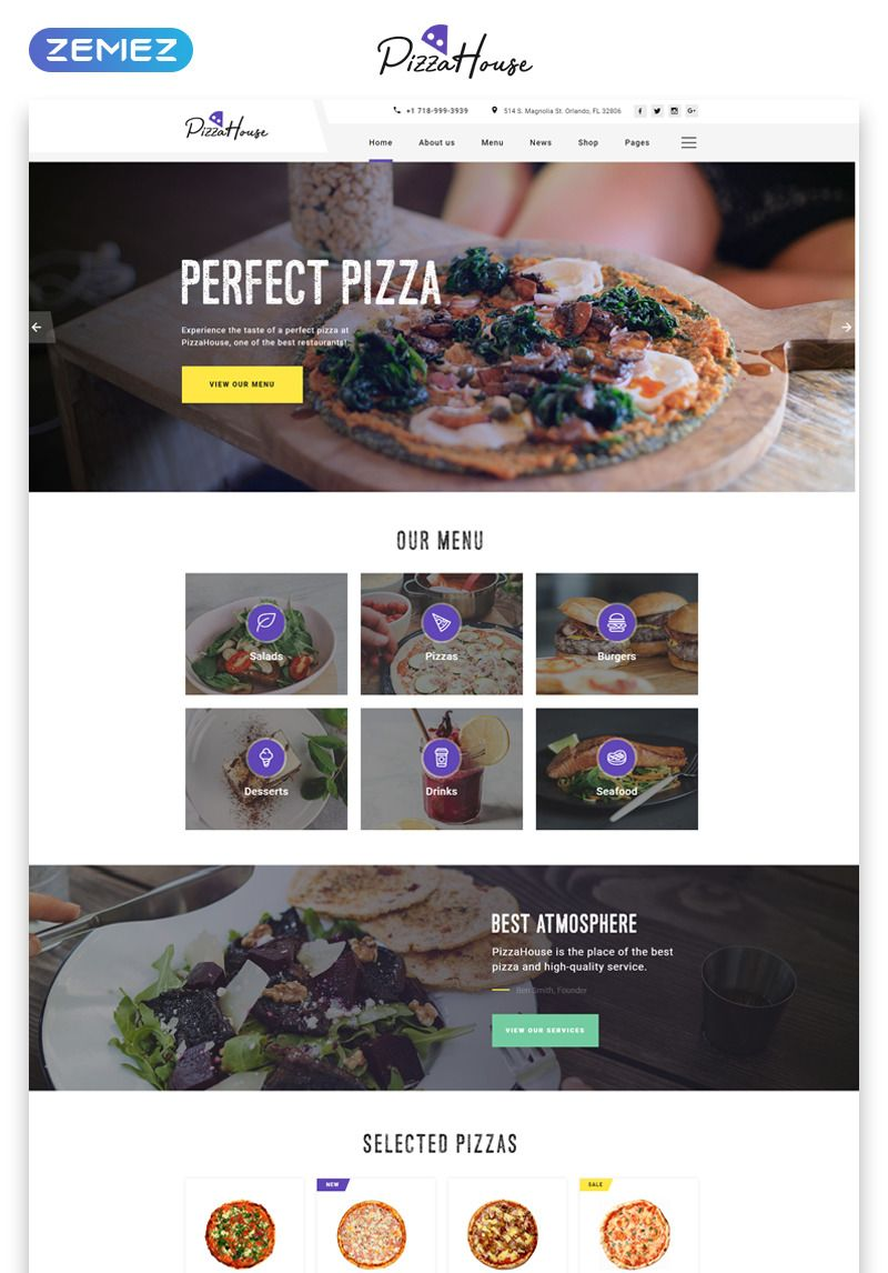 Pizza House Multipage Html Website Template 49531 Provides Awesome