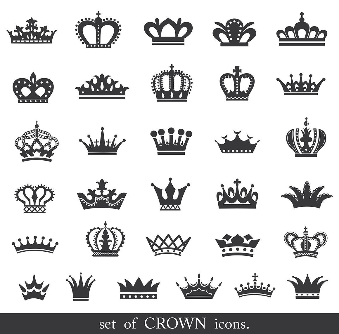 Set Of Gold And Silver Crown Icons 24864 Icons Design Bundles Crown Finger Tattoo Crown Tattoo Design Crown Tattoo