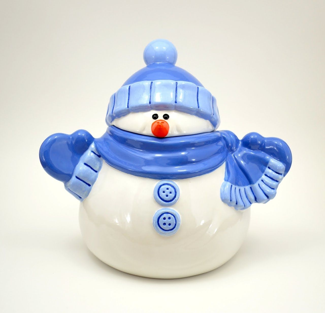 How To Paint Pottery Snowman Cookie Jar Pottery Painting Snowman Painting Paint Your Own Pottery