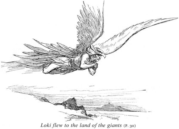 Loki flew to the land of the giants by Gordon Browne in Book of the Sagas by Alice S. Hoffman