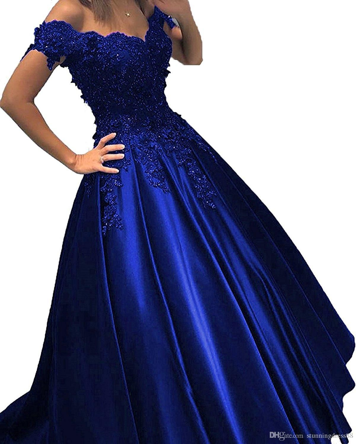 755acd36ea42d Royal Blue Cheap Prom Dress Ball Gown Off the shoulder Lace 3D ...