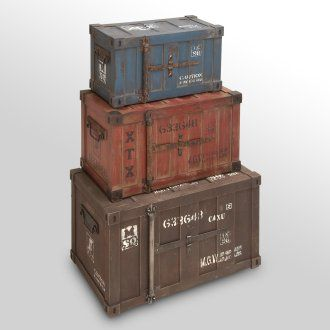 Metal & Wood Trunks - Set of 3