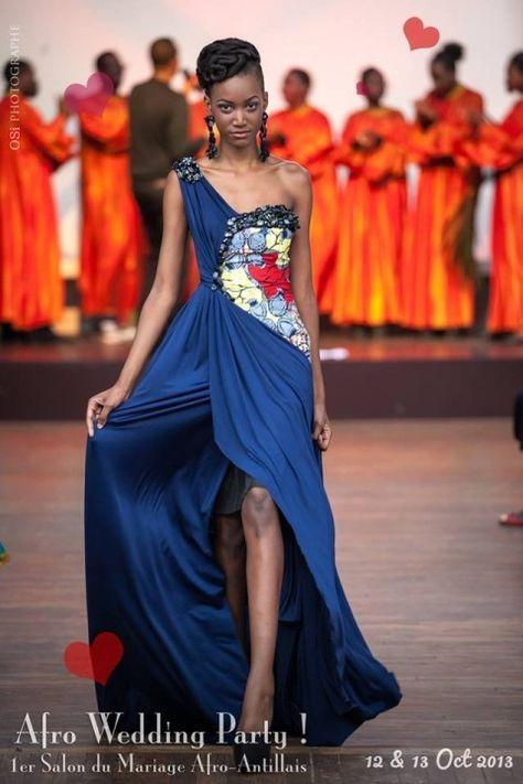 Pourquoi pas une robe unie avec motifs color s juste sur - Salon afrique unie ...