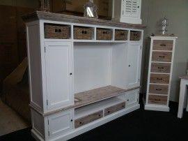 Landelijke Tv Meubel : Landelijk tv meubel met ombouw incl. manden. aw1004. interieur