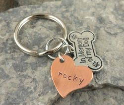 In Memory of my Dog Personalized Hand Stamped Keychain
